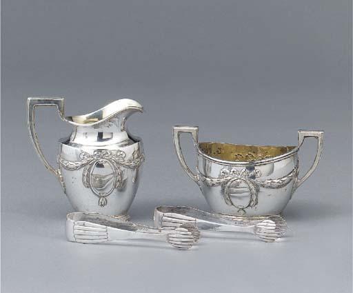 A German silver cream-jug, sug