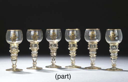 Ten German glass gilt monogram