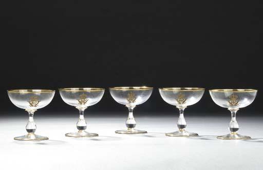 Five German glass gilt monogra