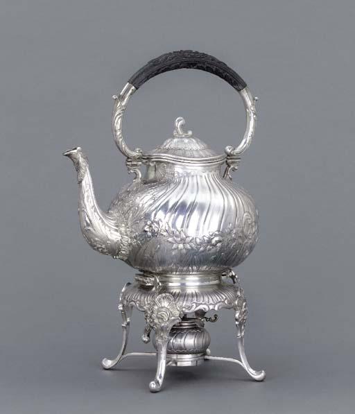 A German silver tea-kettle, st