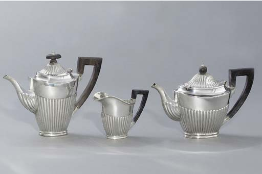A German silver coffee-pot, te