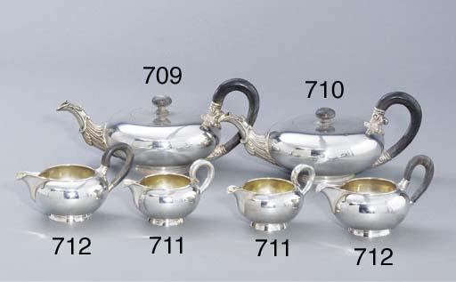 Two German silver cream-jugs