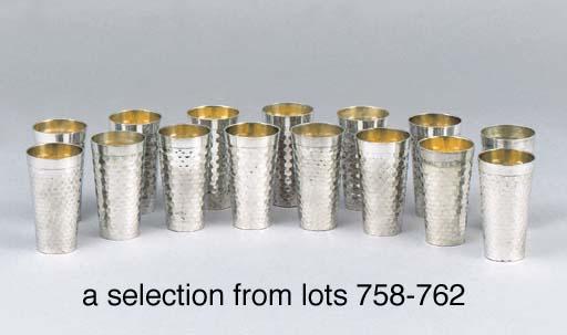 A set of six German silver bea