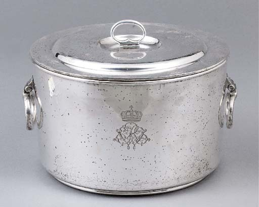 A German silver stew-pan and c
