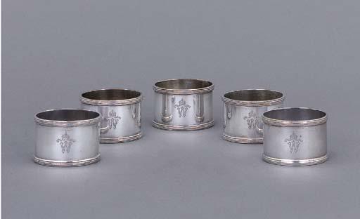 Five German silver napkin-ring