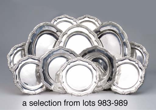 A set of eight German silver d