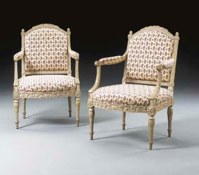 A PAIR OF LOUIS XVI GRAY AND Y