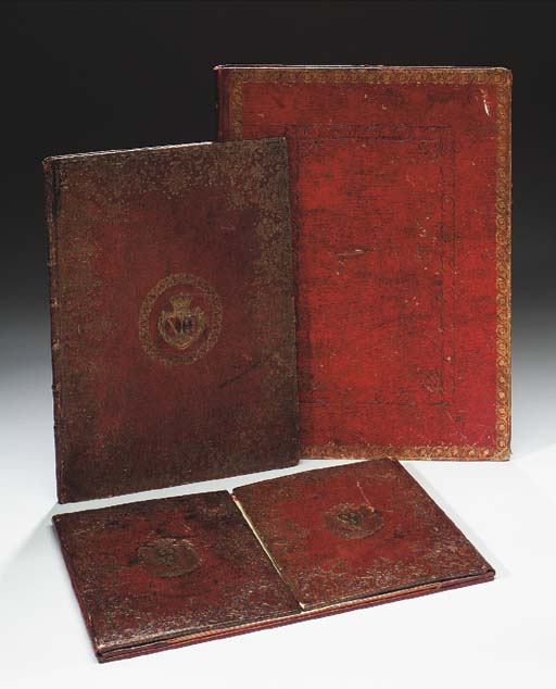 A LOUIS XV GILT-TOOLED RED-LEATHER FOLIO