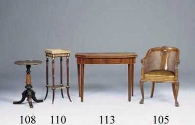 A walnut and caned armchair, e