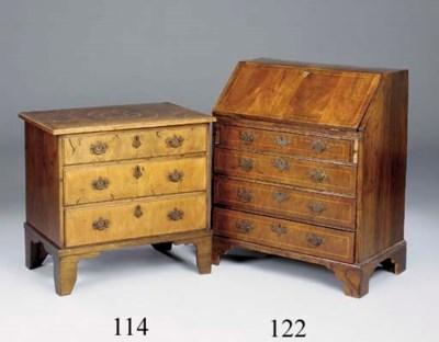 A walnut bureau, possibly Angl