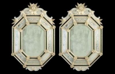A pair of octagonal Venetian m