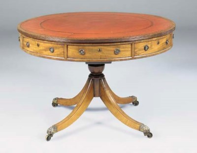 A drum table, 19th century and