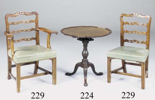 A mahogany pie crust tripod table, probably George III