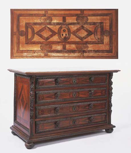 A NORTH ITALIAN WALNUT AND OLIVE BANDED CHEST