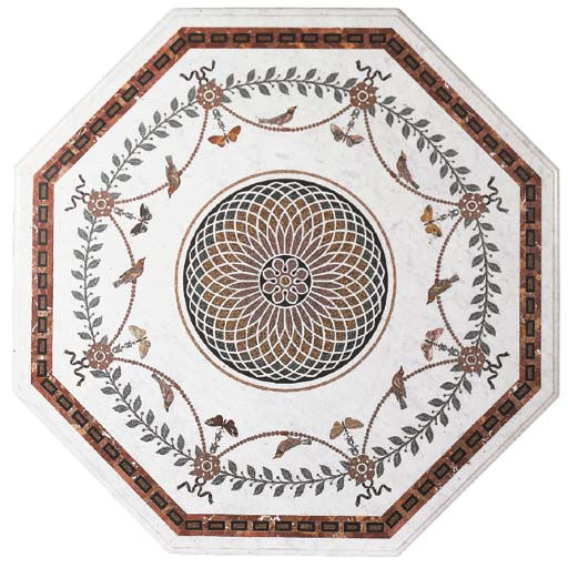 A SPECIMEN MARBLE INLAID OCTAGONAL TABLE TOP