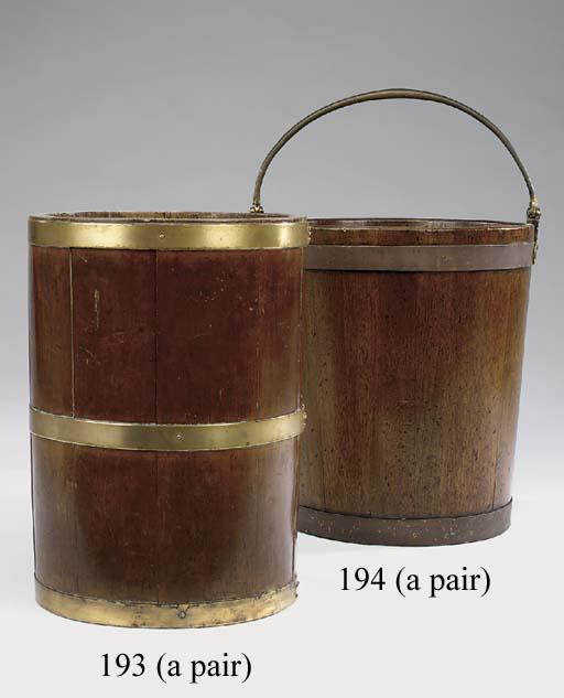 A pair of brass bound mahogany buckets, 20th century