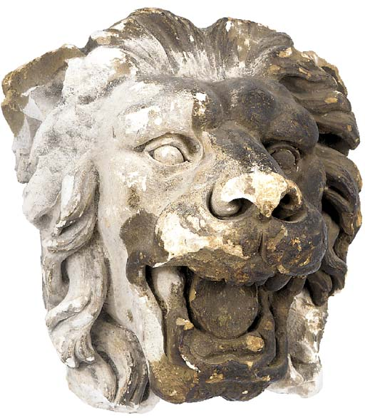 An English painted plaster lion mask wall mount, possibly 18th century