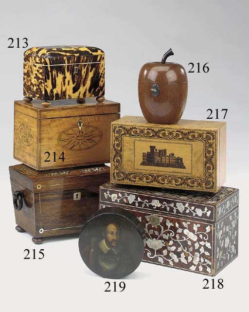 A Victorian Tunbridgeware and maple veneered tea caddy, last quarter 19th century