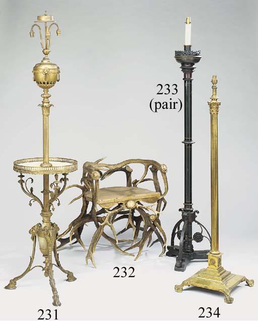 A gilt brass columnar standard lamp, second quarter 20th century