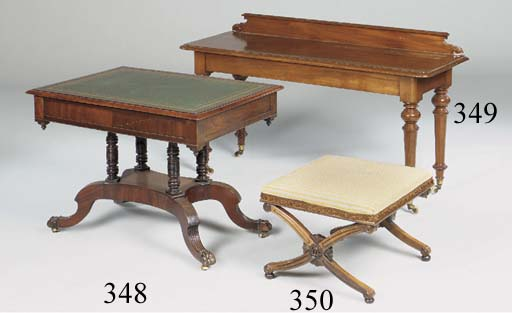 A MAHOGANY AND LEATHER TOPPED CENTRE TABLE, 19TH CENTURY