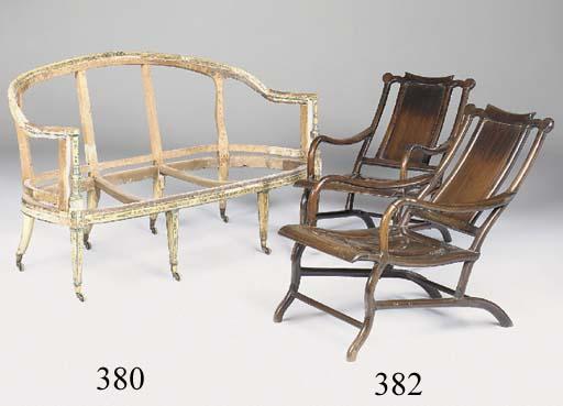 A polychrome decorated sofa frame, late 18th century