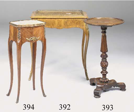 A MAHOGANY AND GRAINED BEECH TRIPOD TABLE