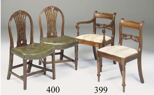 A SET OF SIX MAHOGANY DINING CHAIRS, LATE 18TH CENTURY AND LATER