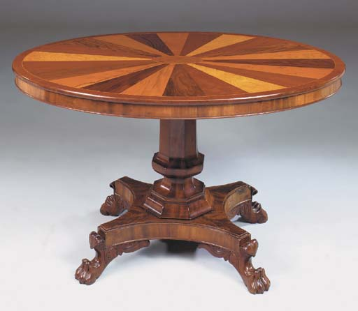 A MAHOGANY AND SPECIMEN WOOD OVAL BREAKFAST TABLE, early 19th, possibly german