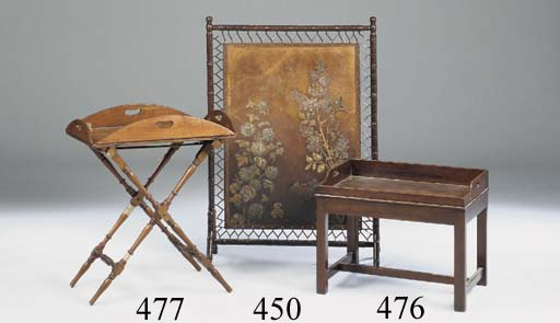 A MAHOGANY BUTLER'S TRAY ON STAND, 19TH CENTURY AND LATER