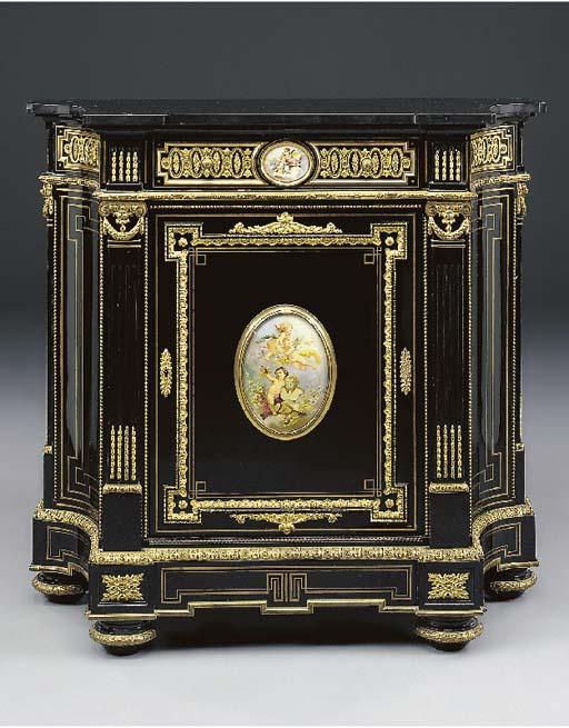 A Napoleon III ormolu and porcelain mounted ebonised side cabinet