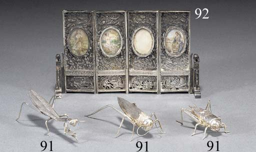 A Chinese silver miniature four-fold screen Late 19th Century