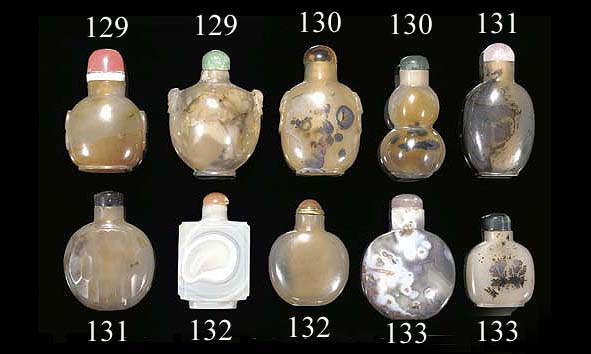 A group of fifty Chinese agate snuff bottles 19/20th Century