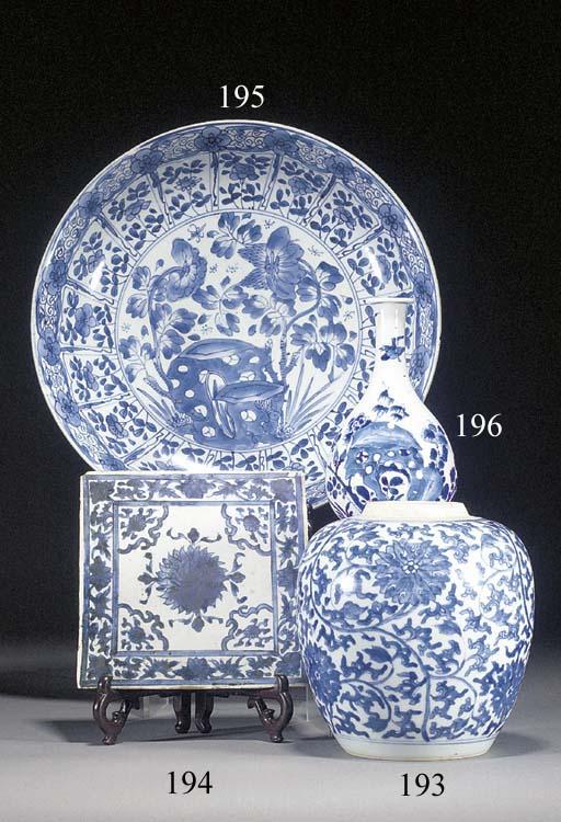 A Chinese blue and white bottle vase Kangxi