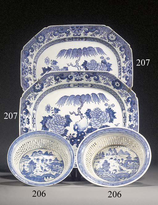 Two Chinese blue and white pierced oval baskets en suite 18th century