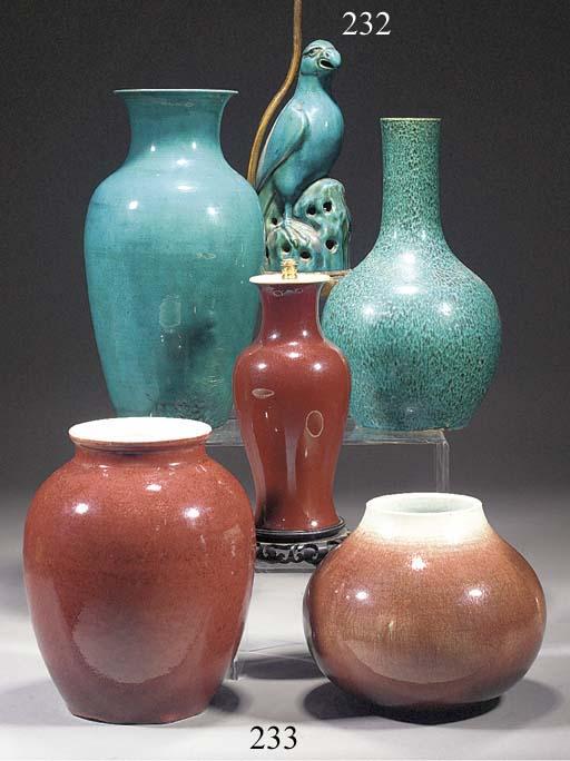 A Chinese mottled turquoise glazed bottle vase 18th century