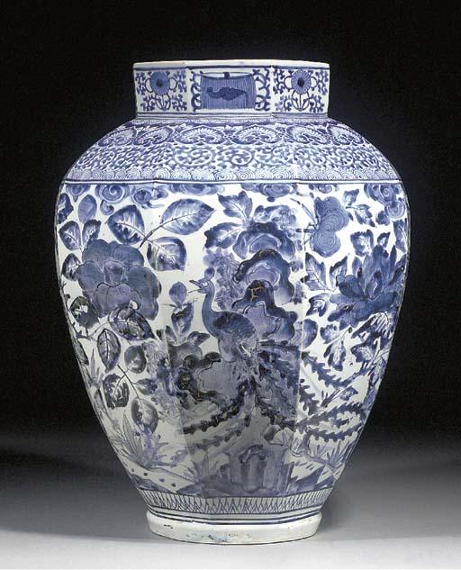 A large Arita blue and white octagonal jar 18th century