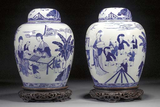 A pair of Chinese blue and white ovoid jars and covers 19th century