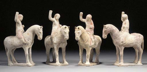 Four Tang painted pottery equestrian figures