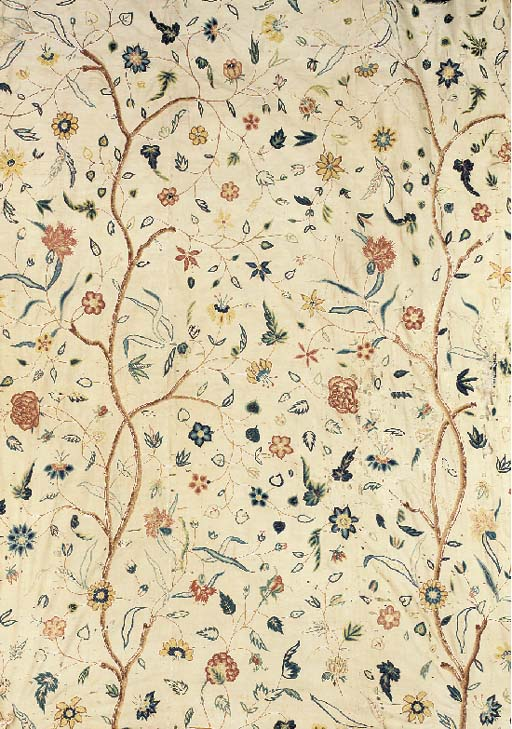 A hanging, crewelworked in coloured wools with a delicate and open design of flowering branches--78 x 56in. (195 x 140cm.), probably American, 18th century, some wear and repairs