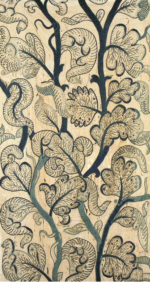 A panel, crewelworked in teal blue wools with large scale and elaborate foliage--180 x 40in. (450 x 100cm.), English, late 17th/early 18th century, ground worn, repairs, backed; and another, worked in blues and earth tones with a similar motif--80 x 42in. (200 x 105cm.), early 20th century; and two panels of white muslin, finely chain stitched in greens and red wools with rosebuds, late 18th century