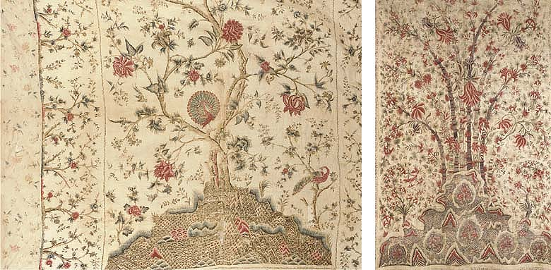 A Palampore, printed and painted with two peacocks, one with open fan tail, on an elegant tree with elegantly meandering, flowering branches, on a stylised hillocky ground, the borders with blossoming saplings, with added vertical borders, quilted and lined--100in. (250cm.) square, Coromandel coast, 18th century; and a small Palampore, printed and painted in reds and madder with a fantastical blossoming tree, on stylised hillocky and floral ground, lined--88 x 52in. (220 x 130cm.), South India, possibly Coromandel coast, 18th century, some wear and repair