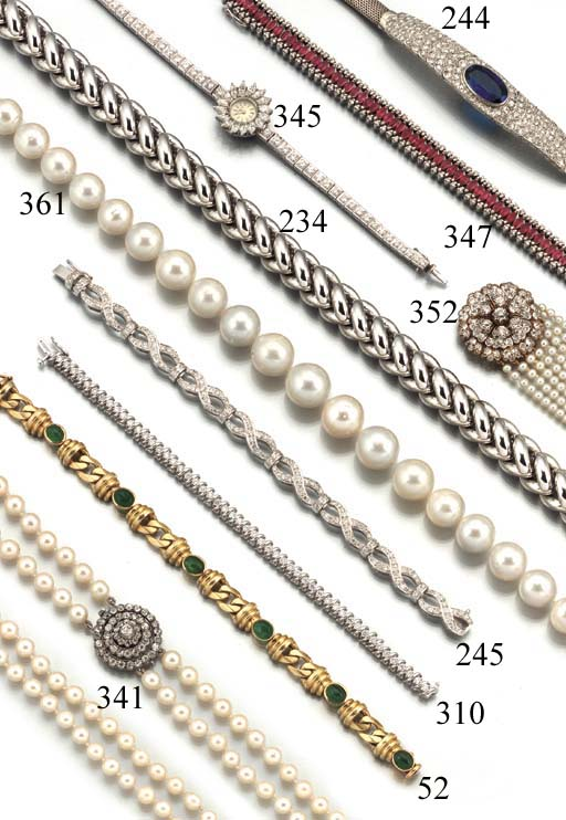 A diamond and cultured pearl bracelet,