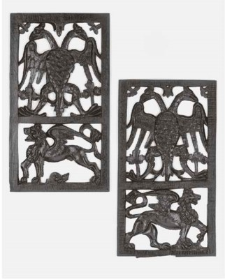 A pair of English relief carve