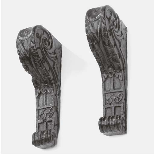 A pair of James I relief carve