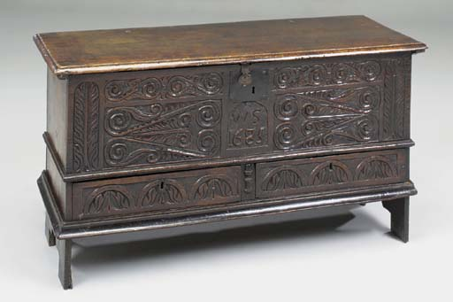 A CARVED OAK CHEST, ENGLISH, L