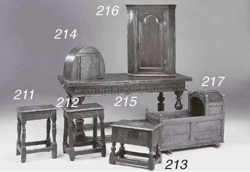 AN OAK BOX STOOL, ENGLISH, LAT