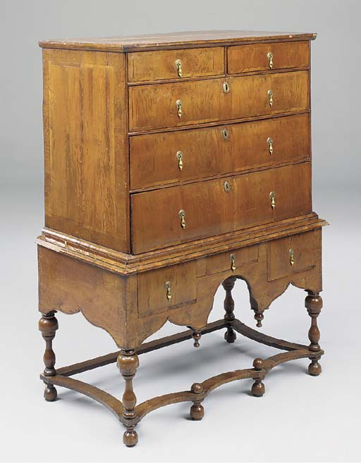 A YEWWOOD CHEST ON STAND, ENGL