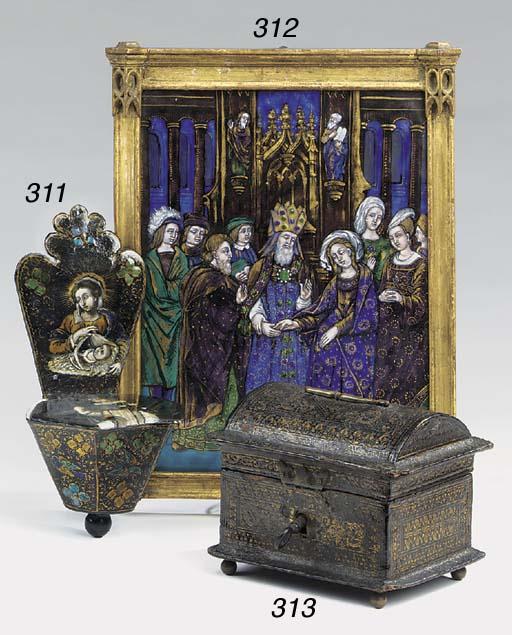 A Limoges enamal plaque depict