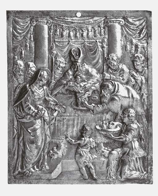 A Flemish gilt bronze plaque d