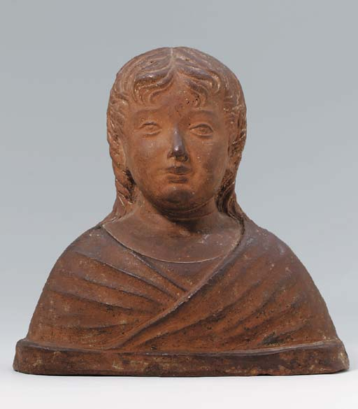 AN ITALIAN TERRACOTTA BUST OF